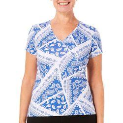 Hearts of Palm Womens Blue Print Faux-Wrap Paisley Print Top