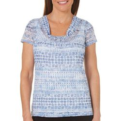 Hearts of Palm Womens Blue Print Geometric Floral Top