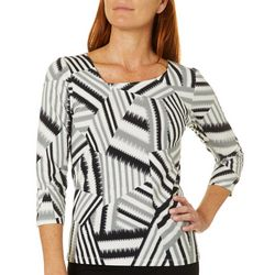 Hearts of Palm Womens Printed Essentials Patchwork Print Top