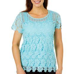 Hearts of Palm Womens Spring Bling Floral Lace Top