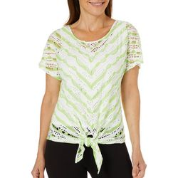Hearts of Palm Womens Spring Bling Open Knit Tie Front Top