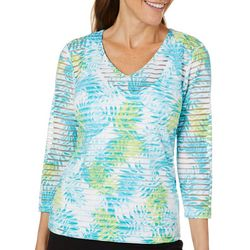 Hearts of Palm Womens Spring Bling Tropical Striped Top