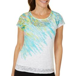 Hearts of Palm Womens Spring Bling Embellished Burnout Top