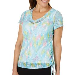 Hearts of Palm Womens Spring Bling Ruched Geo Burnout Top