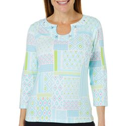Hearts of Palm Womens Spring Bling Jeweled Geo Patchwork Top