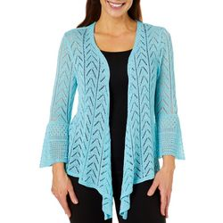 Hearts of Palm Womens Essentials Pointelle Knit Cardigan
