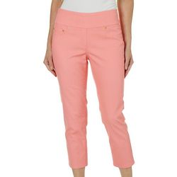 Hearts of Palm Womens Blush Strokes Solid Denim Crop Jeans