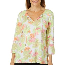 Hearts of Palm Womens Blush Strokes Palm Leaf Tie Neck Top