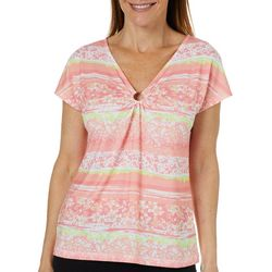 Hearts of Palm Womens Blush Strokes Floral Ring Neck Top