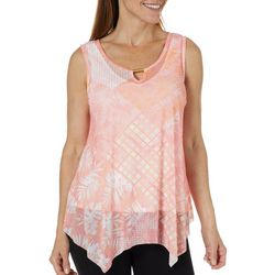 Hearts of Palm Womens Blush Strokes Patchwork Keyhole Top