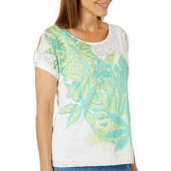 Hearts of Palm Womens Palm Perfect Embellished Floral Top