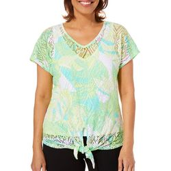 Hearts of Palm Womens Palm Perfect Lace Tie Front Top