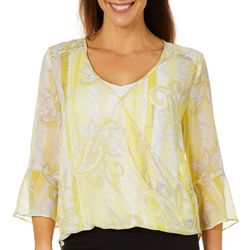 Hearts of Palm Womens Sunny Side Up Paisley Faux-Wrap Top