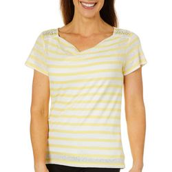 Hearts of Palm Womens Sunny Side Up Lace Striped Top