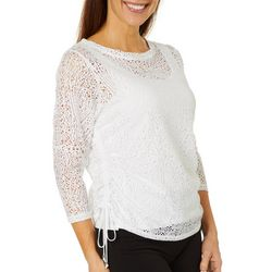 Hearts of Palm Womens Sunny Side Up Woven Ruched Top