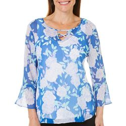Hearts of Palm Womens Always Blooming Rose Print Top
