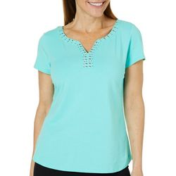 Hearts of Palm Womens Always Blooming Split Jewel Neck Top