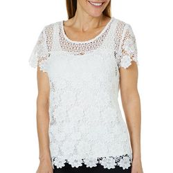 Hearts of Palm Womens Always Blooming Floral Lace Top