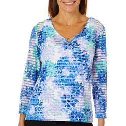 Hearts of Palm Womens Always Blooming Burnout Floral Top