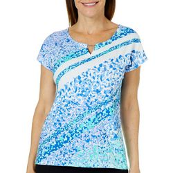 Hearts of Palm Womens Always Blooming Confetti Print Top