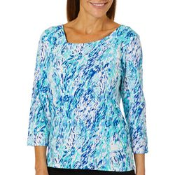 Hearts of Palm Womens Always Blooming Brushstroke Top