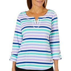 Hearts of Palm Womens Always Blooming Striped Lace-Up Top