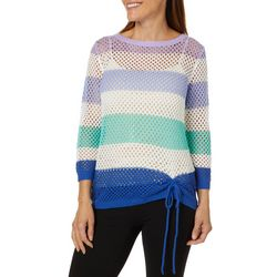 Hearts of Palm Womens Always Blooming Crochet Stripe Sweater