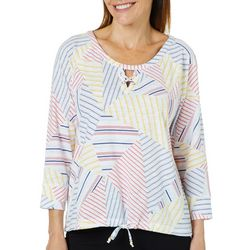 Hearts of Palm Womens Catch My Drift Mosaic Stripe Top