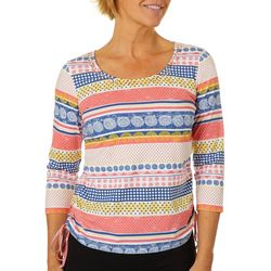 Hearts of Palm Womens Catch My Drift Dotted Stripe Top