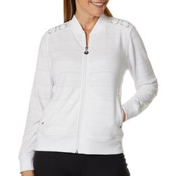 Hearts of Palm Womens Drop Me A Lime Lace-Up Shoulder Jacket