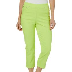 Hearts of Palm Womens Drop Me A Lime Solid Denim Crop Jeans