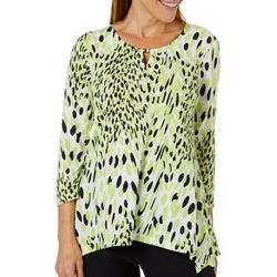 Hearts of Palm Womens Drop Me A Lime Bead Neck Keyhole Top