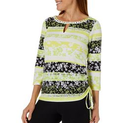 Hearts of Palm Womens Drop Me A Lime Striped Floral Top