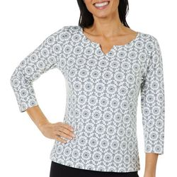 Hearts of Palm Womens Must Haves Floral Medallion Top