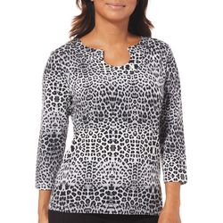 Hearts of Palm Womens Must Haves Jeweled Animal Print Top