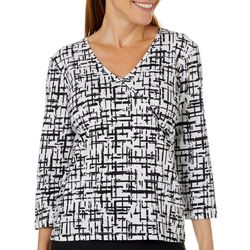 Hearts of Palm Womens Drop Me A Lime Checkered Faux-Wrap Top