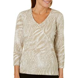 Hearts of Palm Womens Must Haves Animal Print Faux-Wrap Top