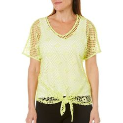 Hearts of Palm Womens Drop Me A Lime Tie Front Overlay Top