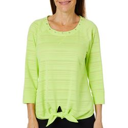 Hearts of Palm Womens Drop Me A Lime Striped Tie Front Top