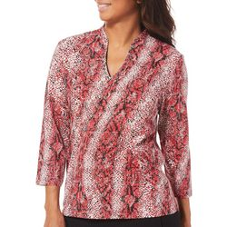 Hearts of Palm Womens Must Haves Snake Print Split Neck Top