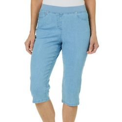 Hearts of Palm Womens Sun In Sight Pull On Denim Capris