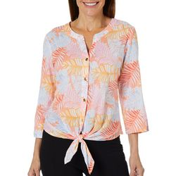 Hearts of Palm Womens Sun In Sight Palm Leaf Tie Front Top