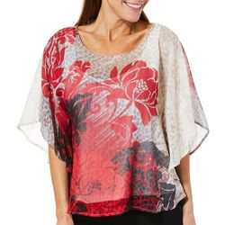 Hearts of Palm Womens Wrapped In Rubies Floral Animal Top