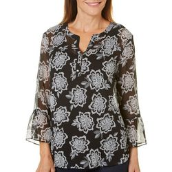 Hearts of Palm Womens Wrapped In Rubies Sheer Floral Top