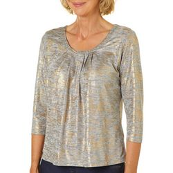 Hearts of Palm Womens Wrapped In Rubies Foil Print Top