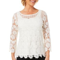 Hearts of Palm Womens Wrapped In Rubies Floral Lace Top
