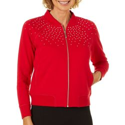 Hearts of Palm Womens Embellished Solid Zip Up Jacket