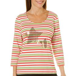 Hearts of Palm Womens Wrapped In Rubies Star Striped Top
