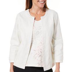 Hearts of Palm Womens Blush Hour Embellished Metallic Jacket