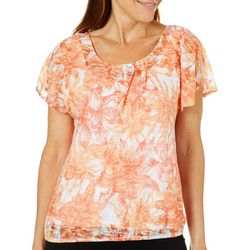 Hearts of Palm Womens Sun In Sight Embellished Floral Top